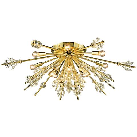 "Starburst 34"" Wide Polished Gold 12-Light Ceiling Light"
