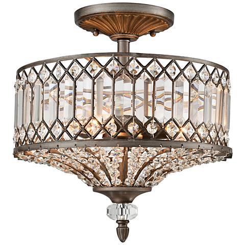 "Paola 14"" Wide Weathered Zinc 3-Light Ceiling Light"