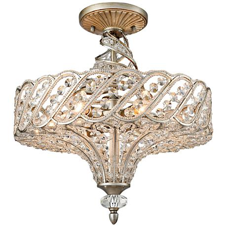 "Cumbria 17"" Wide Aged Silver 6-Light Twist Ceiling Light"