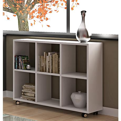 Salvador White Wood 6-Shelf Bookcase with Casters