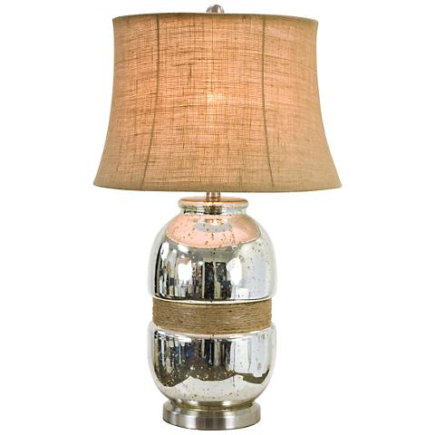 Tannehill Jute Twine Silver Plated Glass Table Lamp