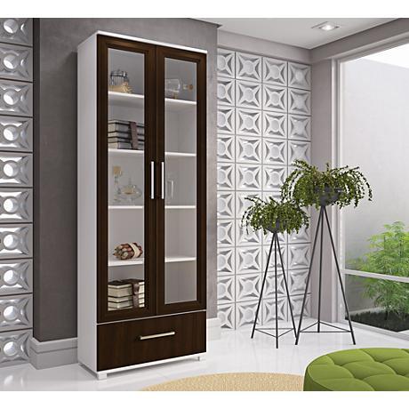 Serra 1.0 White and Tobacco Wood 2-Door Bookcase