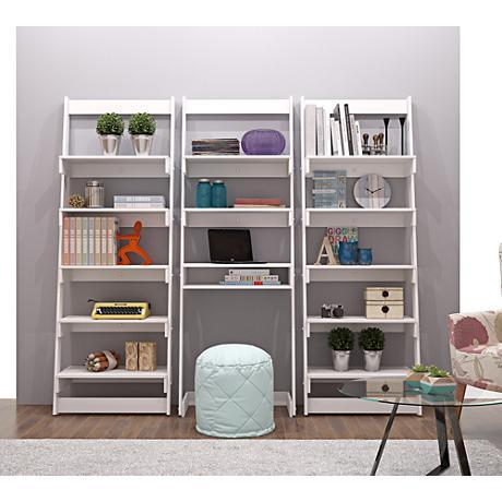 Carpina Home White Wood 3-Piece Ladder Shelf Office Desk Set