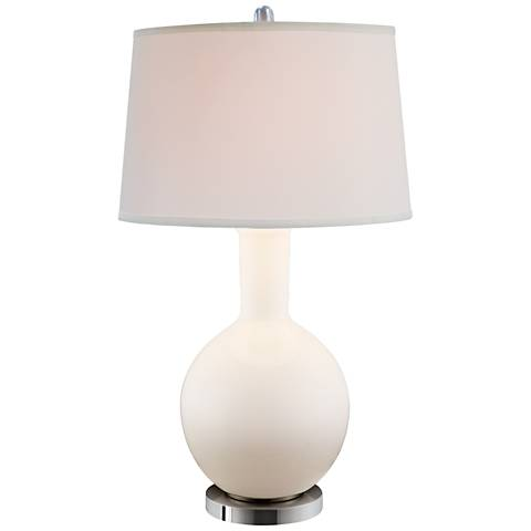 Avant White Glass Table Lamp