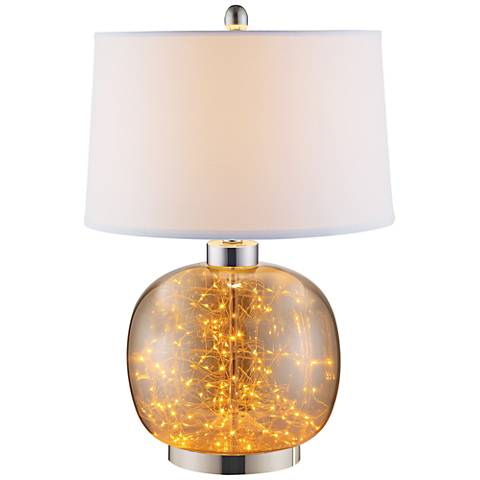 Glenlowe Cognac Glass LED Table Lamp with Night Light