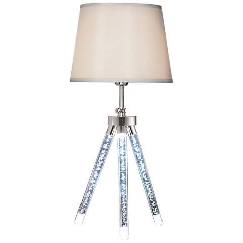 Vespucci Sand Chrome Tripod LED Table Lamp with Night Light
