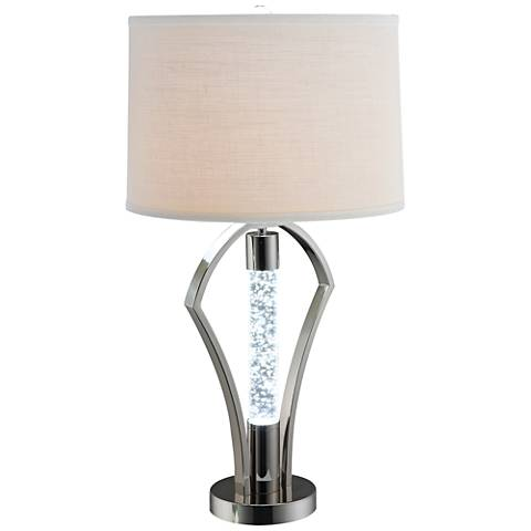 Dara Nickel LED Night Light Table Lamp