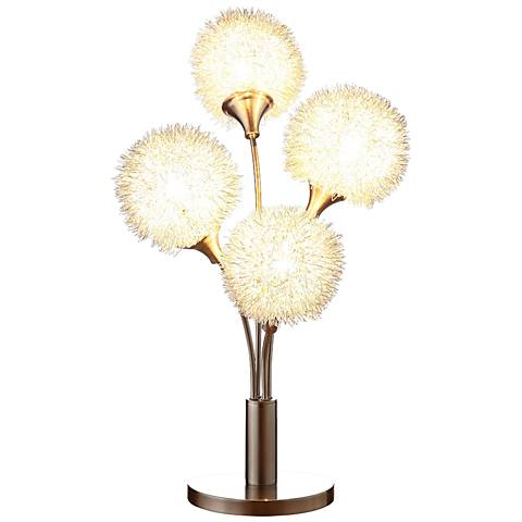 Dandelion Bloom Sand Chrome 4-Light Accent Table Lamp