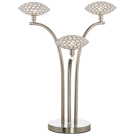 treo sand chrome and crystal 3 light table lamp 9x444. Black Bedroom Furniture Sets. Home Design Ideas