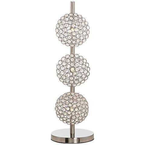 """Treo Sand Chrome and Crystal 25 3/4""""H 3-Light Orb Table Lamp"""