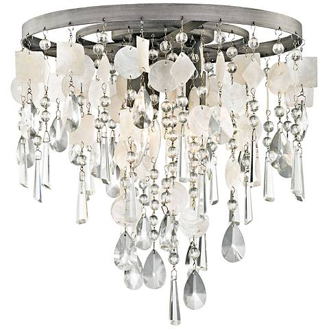 "Alexandra 14"" Wide Zinc and Capiz Shell Ceiling Light"