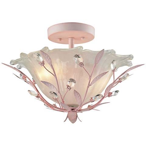 """Circeo 17"""" Wide Light Pink 2-Light Ceiling Light"""