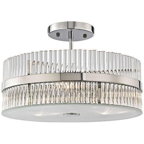 "Nescott 14"" Wide Polished Chrome 3-Light Ceiling Light"