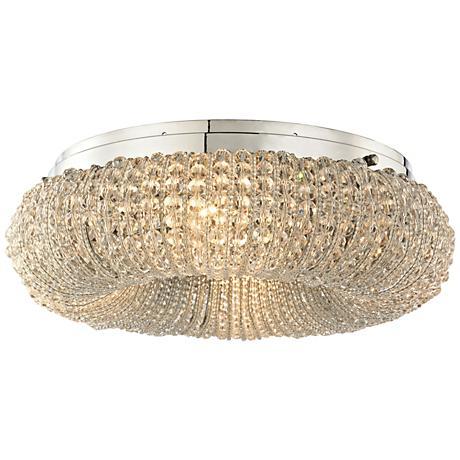 "Crystal Ring 13"" Wide Polished Chrome 4-Light Ceiling Light"