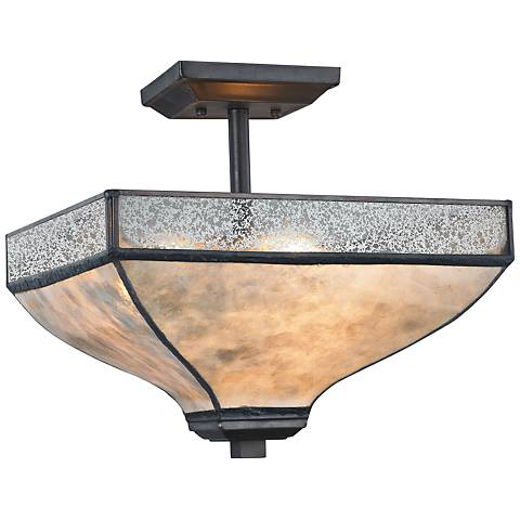 "Santa Fe 14"" Wide Tiffany Bronze 3-Light Ceiling Light"