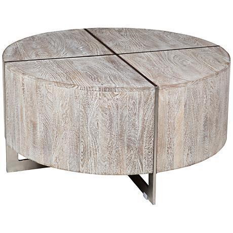 Desmond Hand Distressed Wood Round Coffee Table 9x533