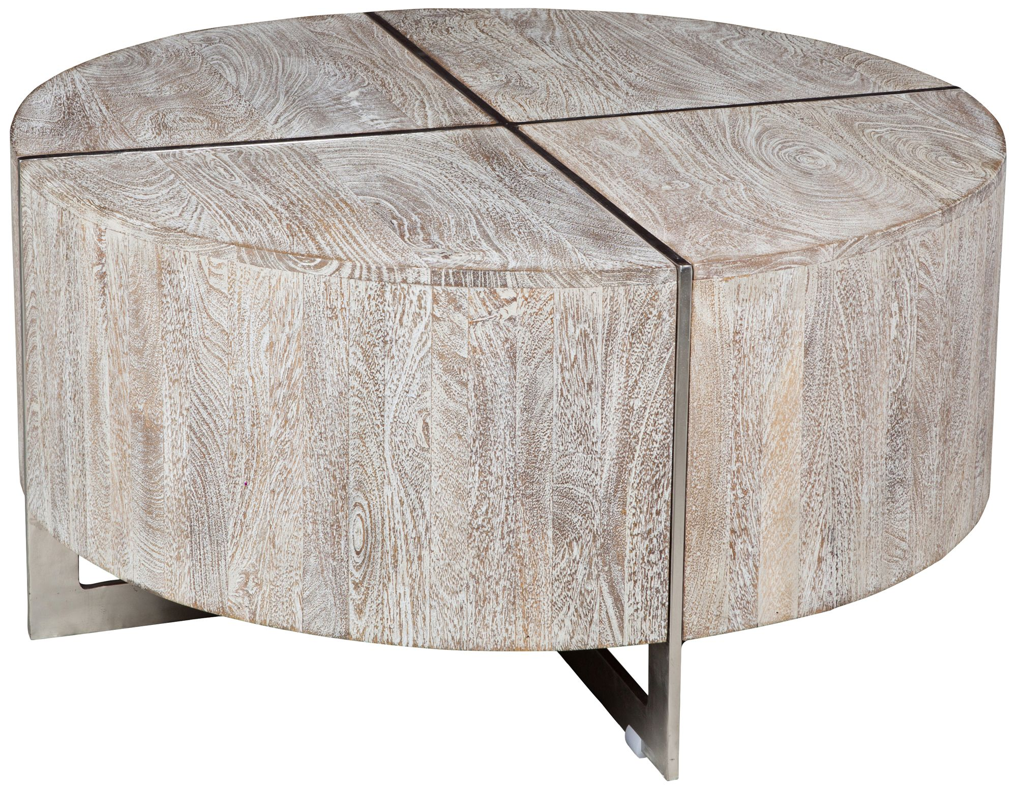 Desmond Hand Distressed Wood Round Coffee Table