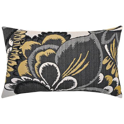 "Floral Shadow 20""x12"" Lumbar Indoor-Outdoor Pillow"