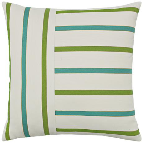 "Elaine Smith Eden Stripe 20"" Square Indoor-Outdoor Pillow"