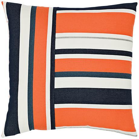 "Elaine Smith Riviera Stripe 20"" Square Indoor-Outdoor Pillow"