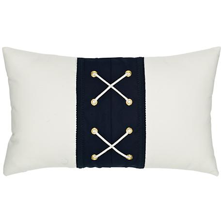 "Elaine Smith Navy Laced 20""x12"" Lumbar Indoor-Outdoor Pillow"