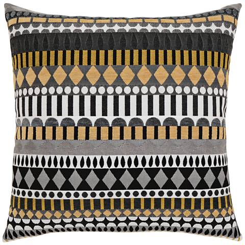 "Elaine Smith Golden Deco 19"" Square Indoor-Outdoor Pillow"