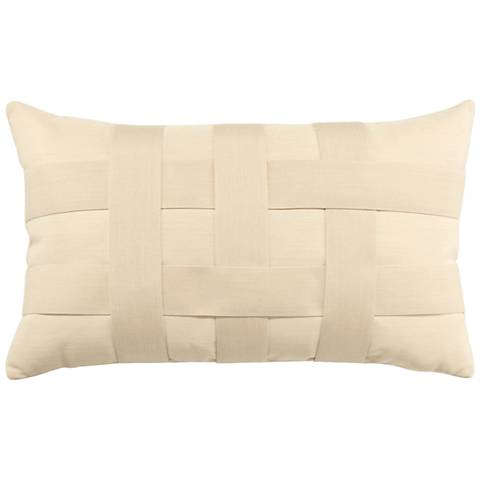 "Basketweave Ivory 20""x12"" Lumbar Indoor-Outdoor Pillow"