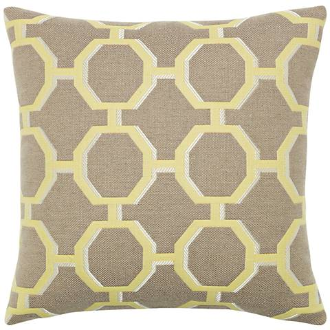 "Octagon Citrine 20"" Square Indoor-Outdoor Pillow"