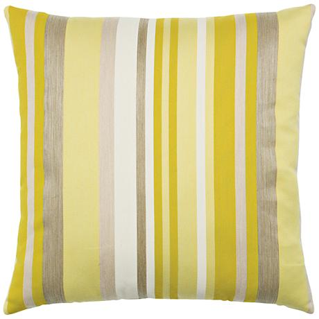 "Elaine Smith Citrine Stripe 20"" Square Indoor-Outdoor Pillow"