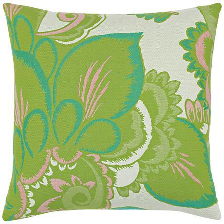 "Floral Hibiscus 20"" Square Indoor-Outdoor Pillow"