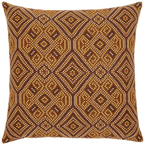 """Elaine Smith Nutmeg Tile 20"""" Square Indoor-Outdoor Pillow"""