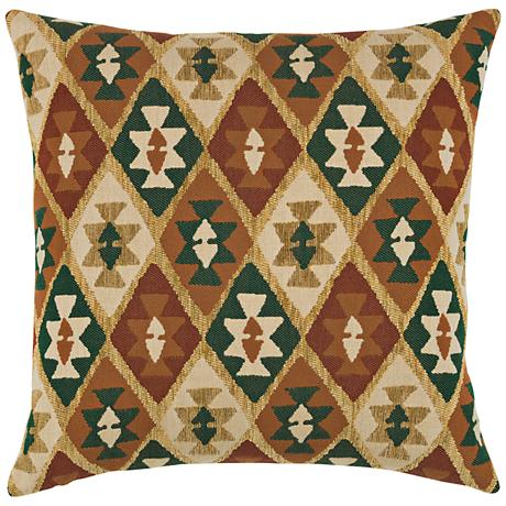 "Canyon Diamond Forest 20"" Square Indoor-Outdoor Pillow"