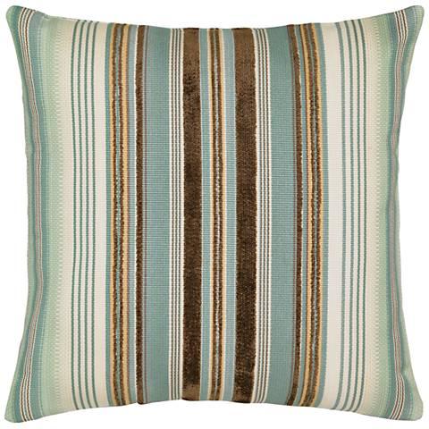 """Elaine Smith Aqua Stripe 20"""" Square Indoor-Outdoor Pillow"""