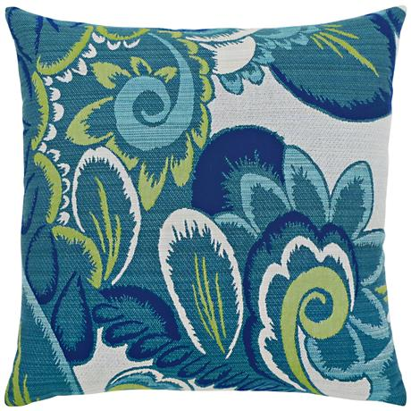 """Elaine Smith Floral Wave 20"""" Square Indoor-Outdoor Pillow"""