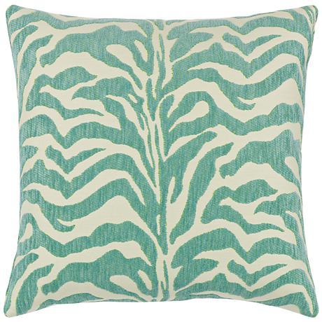 "Elaine Smith Zebra Mist 20"" Square Indoor-Outdoor Pillow"