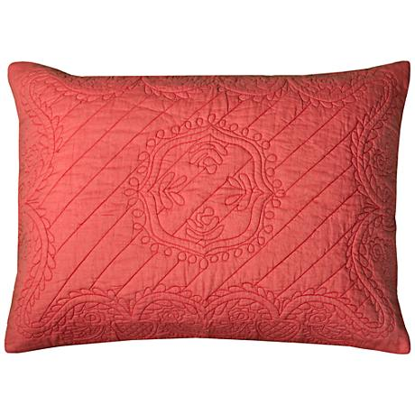 Moroccan Fling Coral Matelasse Quilted King Pillow Sham