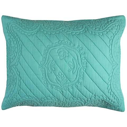 Moroccan Fling Aqua Matelasse Quilted King Pillow Sham