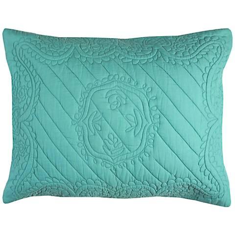 Moroccan Fling Aqua Matelasse Quilted Standard Pillow Sham