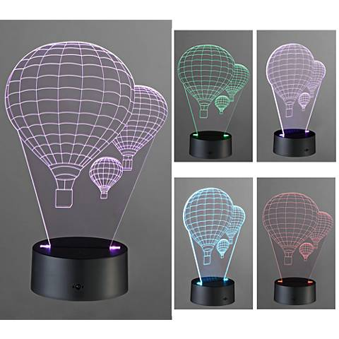 "3D Illusion 8 3/4""H LED Hot Air Balloon Novelty Accent Lamp"