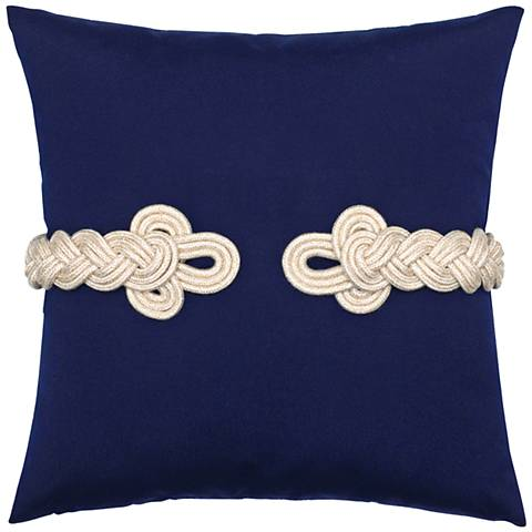"Navy Frog's Clasp 19"" Square Indoor-Outdoor Pillow"