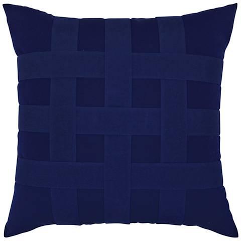 """Basketweave Navy 20"""" Square Indoor-Outdoor Pillow"""