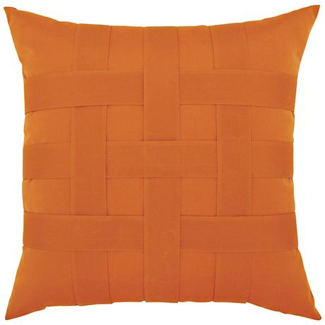 """Basketweave Tuscan 20"""" Square Indoor-Outdoor Pillow"""