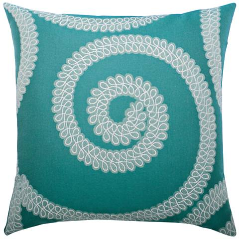 """Elaine Smith Spiral Aqua 20"""" Square Indoor-Outdoor Pillow"""