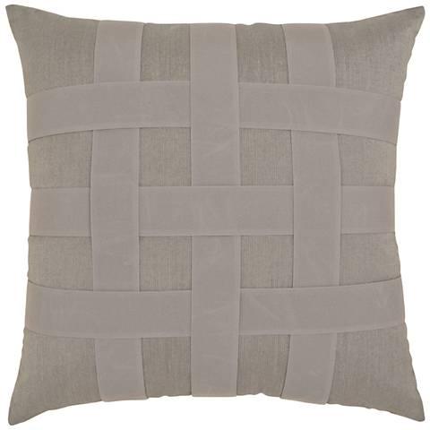 "Basketweave Gray 20"" Square Indoor-Outdoor Pillow"