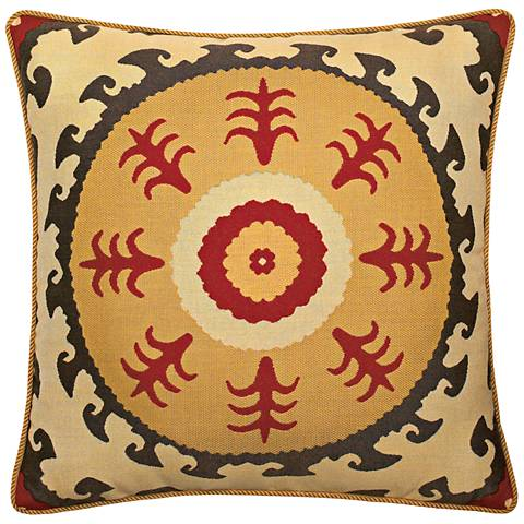 "Elaine Smith Suzani Sun 22"" Square Indoor-Outdoor Pillow"