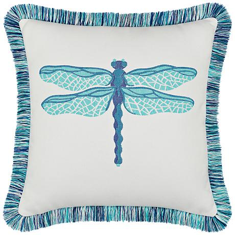 """Elaine Smith Dragonfly Pool 20"""" Square Indoor-Outdoor Pillow"""