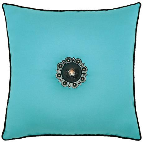 """Jeweled Aruba Corded 20"""" Square Indoor-Outdoor Pillow"""