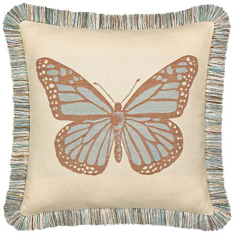 "Elaine Smith Butterfly Spa 20"" Square Indoor-Outdoor Pillow"