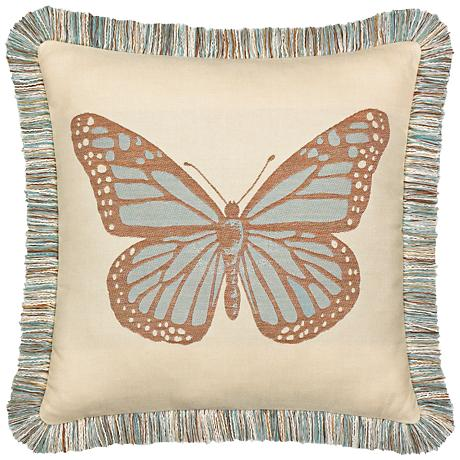 """Elaine Smith Butterfly Spa 20"""" Square Indoor-Outdoor Pillow"""