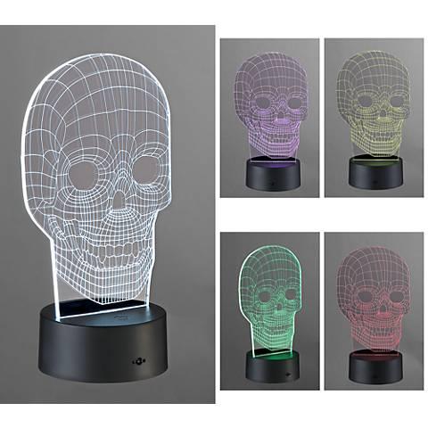 "3D Illusion 8 1/2""H LED Skull Novelty Accent Lamp"